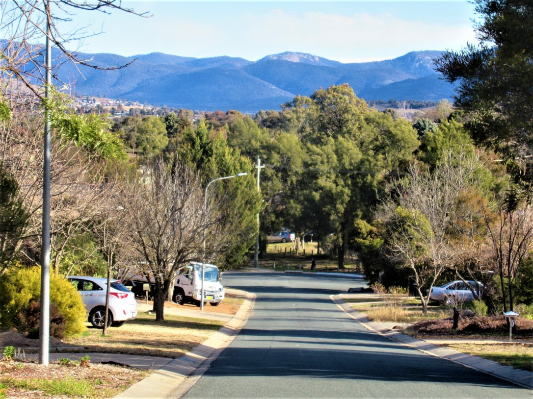 Walk to the shops Tuggernanong Valley Brindabella Range Canberra Australia Winter Sunshine Blue Sky Sonya Heaney 21st July 2019 Sunny Warm Afternoon